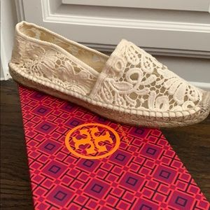 Tory Burch ABBE White Crocheted Espadrilles 8.5